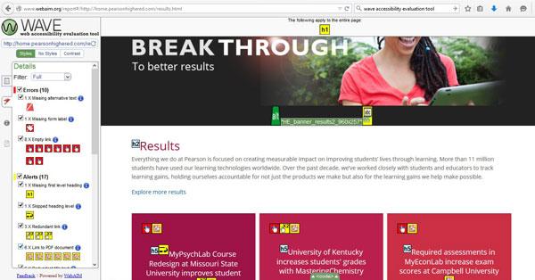 Screenshot of ADA compliance tool